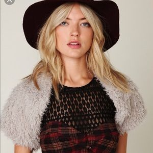 Free People Swalesdale Faux Fur Shrug in Gray